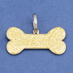 Gold Glitter Bone Dog ID Tag