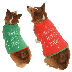 Green Christmas Fleece Dog Jacket.