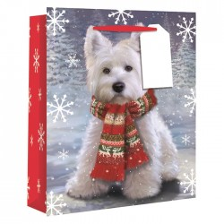 Westie Christmas Paper Gift Bag - Small