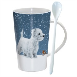Tall Hot Chocolate Mug - Winter Westie