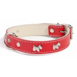 Luxury Red Leather Westie Dog Collar - Made in the UK