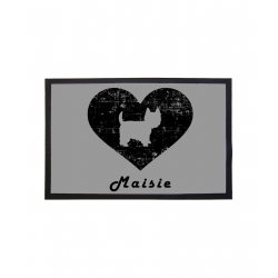Westie Heart Floor Mat Personalised