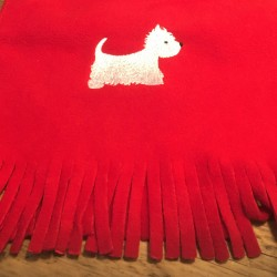 Red Westie Fleece Scarf
