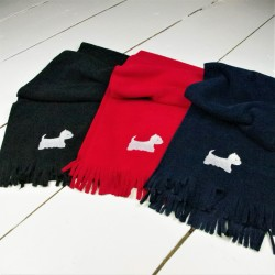 Navy Westie Fleece Scarf