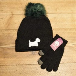 Westie Bobble Hat Black
