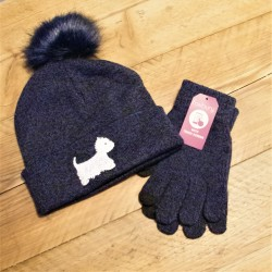 Westie Bobble Hat Blue