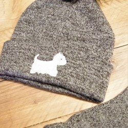 Westie Bobble Hat grey