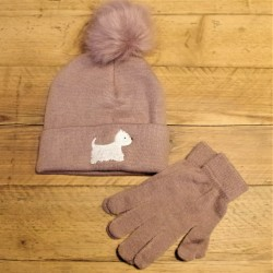 Westie Bobble Hat Purple