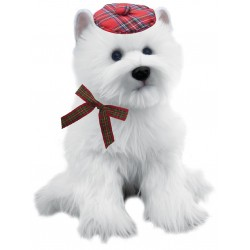 Wallace The Westie Soft Toy Tartan Bonnet