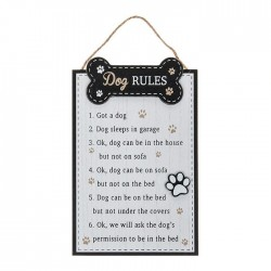 Dog Rules Plaque White