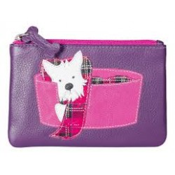 Westie in Basket Leather Coin Purse Purple