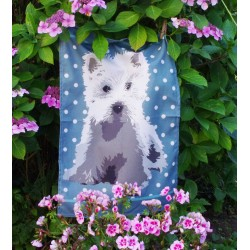 Green Westie Tea Towel