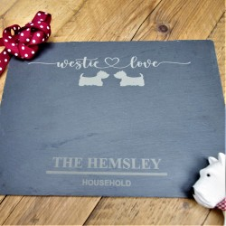 Westie Love Slate Placemat Personalised