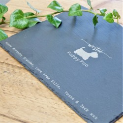 Personalised Message Westie Slate Placemat