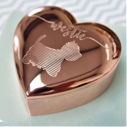 Heart Rose Gold Westie Trinket Box Personalised