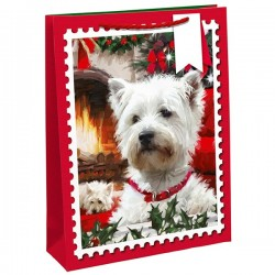 Westie Dog Christmas Gift Bag Large