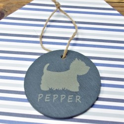 Personalised Westie Round Slate Hanging Decoration
