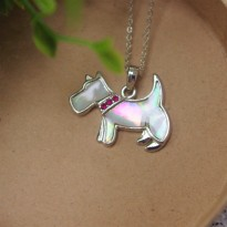 Westie Mother of Pearl Necklace