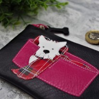 Leather Westie in Basket Coin Purse Black