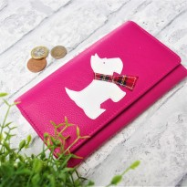 Luxury Pink Westie Flap Over Leather Purse