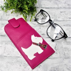 Westie Glasses Case Pink Leather