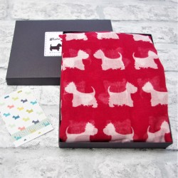Boxed Westie Scarf Red