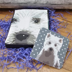 Boxed Westie Tea Towel and Coaster