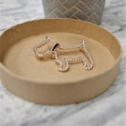Westie Brooch Rose Gold Diamante