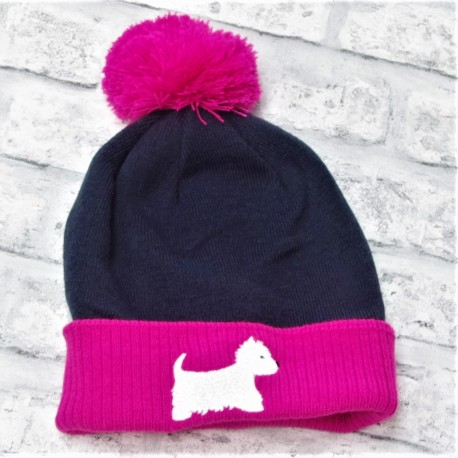 Westie Bobble Hat Navy and Pink