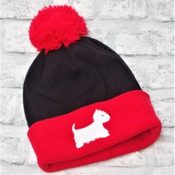 Westie Bobble Hat Black and Red