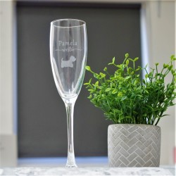Westie Prosecco Glass Personalised