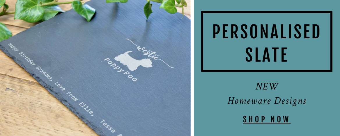 Personalised Westie Slate Homeware Designs